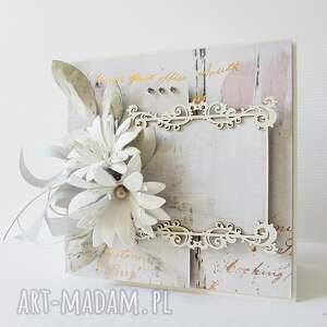 białe scrapbooking kartki życzenia ślubna elegancja - w pudełku