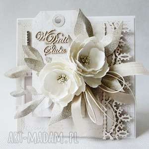 ręcznie robione scrapbooking kartki życzenia ślubna elegancja - w pudełku