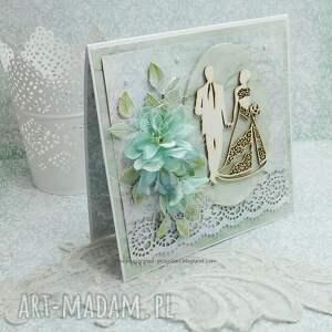ślub scrapbooking kartki zielone ślubna kartka z pudełkiem
