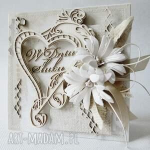 ślub scrapbooking kartki zielone ślubna kartka w pudełku