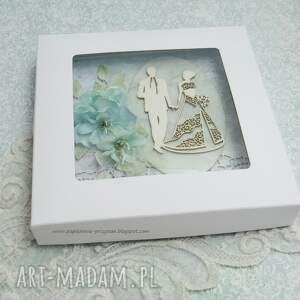 turkusowe scrapbooking kartki prezent na ślub ślubna kartka z pudełkiem