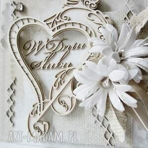 turkusowe scrapbooking kartki życzenia ślubna kartka w pudełku