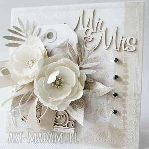 beżowe scrapbooking kartki ślub ślubna kartka w pudełku