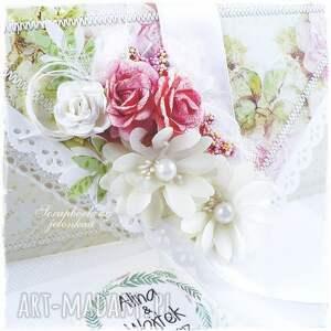 kopertówka scrapbooking kartki beżowe ślubna