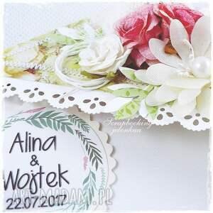 różowe scrapbooking kartki ślub ślubna kopertówka