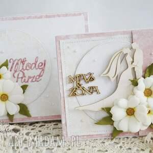 scrapbooking kartki kartka-ślubna ślubna z margerytkami
