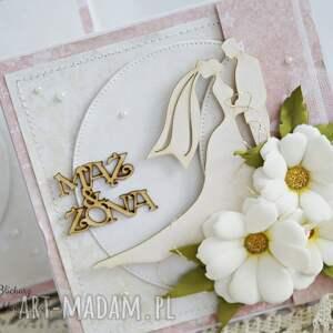 beżowe scrapbooking kartki ślub ślubna z margerytkami