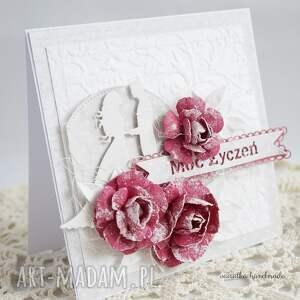 białe scrapbooking kartki ślubna z różami