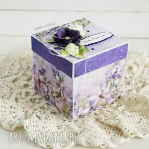 ślub scrapbooking kartki fioletowe ślubny exploding box z młodą parą
