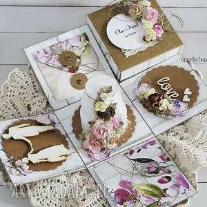 exploding-box scrapbooking kartki ślubny z tortem -