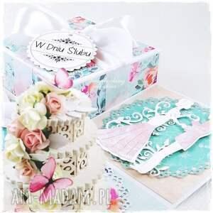 różowe scrapbooking kartki pudełko ślubny exploding box