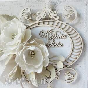 frapujące scrapbooking kartki życzenia ślubny szyk - w pudełku