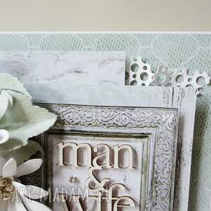 scrapbooking kartki zaproszenie ślubny szyk - w pudełku