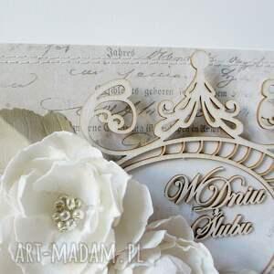 scrapbooking kartki życzenia ślubny szyk - w pudełku