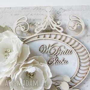 białe scrapbooking kartki pudełko ślubny szyk - w pudełku
