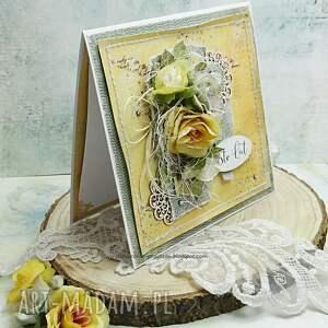urodziny scrapbooking kartki żółte sto lat - kartka w pudełku