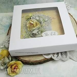 niesztampowe urodziny sto lat - kartka w pudełku