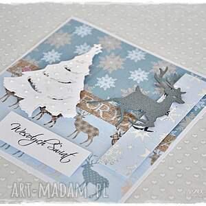 na święta prezenty świąteczne renifery - kartka