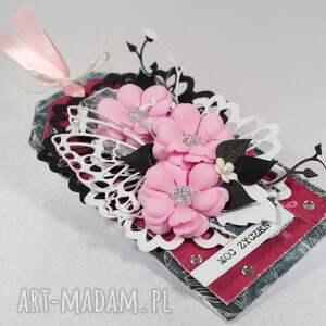 czarne scrapbooking kartki tag różowo-czarny