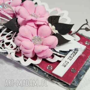 frapujące scrapbooking kartki życzenia tag różowo-czarny