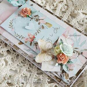 turkusowe scrapbooking kartki ślub ty i ja, kartka ślubna w pudełku