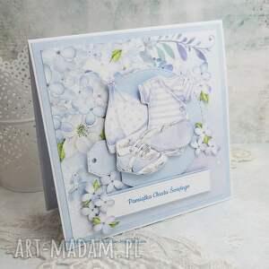 chrzest scrapbooking kartki niebieskie ubranka - pamiątka chrztu św