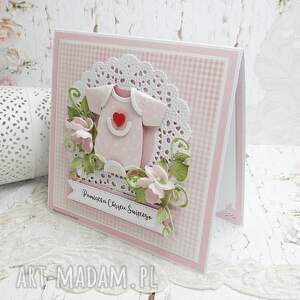 chrzest scrapbooking kartki różowe urocza pamiątka chrztu