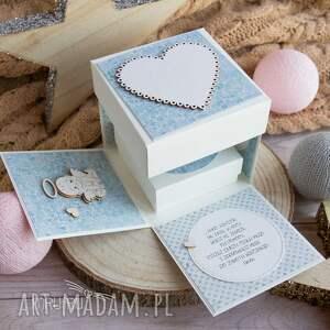 niebieskie scrapbooking kartki narodziny urocze eksplodujące pudełeczko