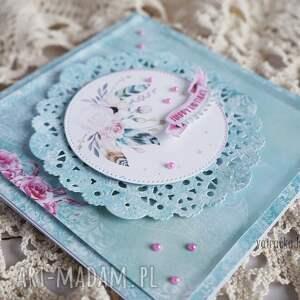 ręcznie wykonane scrapbooking kartki kartka urodzinowa z piórkami