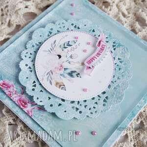 turkusowe scrapbooking kartki kartka urodzinowa z piórkami