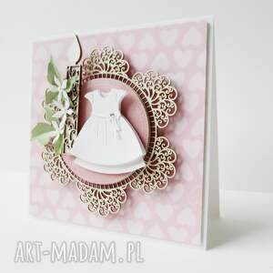 scrapbooking kartki chrzest w białej sukience - pudełku