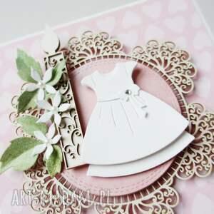 chrzest scrapbooking kartki różowe w białej sukience - pudełku
