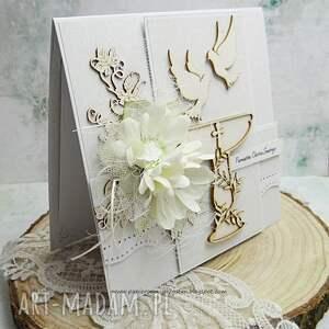 chrzest scrapbooking kartki białe w bieli-pamiątka chrztu świętego