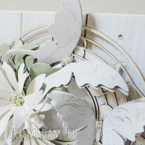 ślub scrapbooking kartki białe w bieli - w pudełku