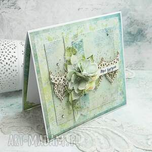 na imieniny scrapbooking kartki zielone w dniu imienin - kartka z pudełkiem