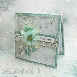 imieninowa-kartka scrapbooking kartki turkusowe w dniu imienin - kartka z