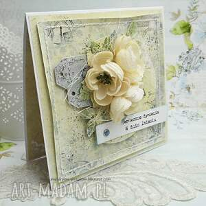ślub scrapbooking kartki beżowe w dniu imienin - kartka