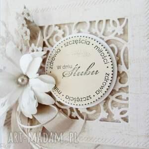 beżowe scrapbooking kartki ślub w dniu ślubu - pudełku