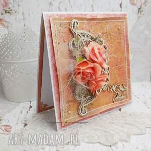 scrapbooking kartki kartka wyjątkowa ślubna w pastelowej