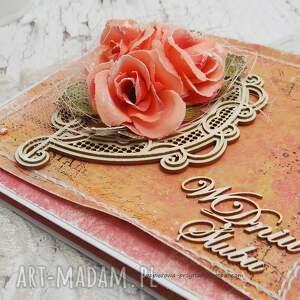 różowe scrapbooking kartki pudełko na ślub w dniu ślubu - w pudełku
