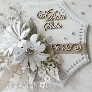 scrapbooking kartki życzenia w dniu ślubu - w pudełku