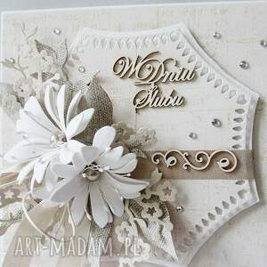 unikatowe scrapbooking kartki życzenia w dniu ślubu - pudełku