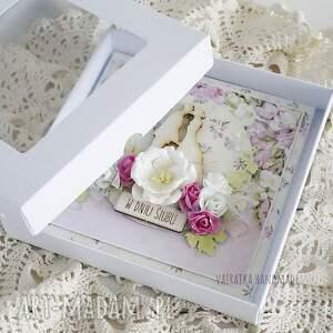 beżowe scrapbooking kartki wesele w dniu ślubu, kartka pudełku, 609
