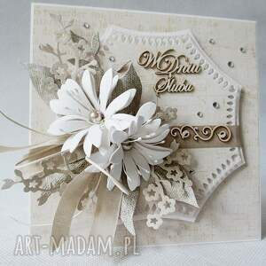 życzenia scrapbooking kartki w dniu ślubu - w pudełku