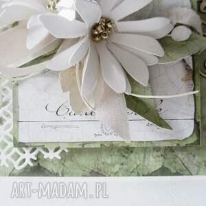 gustowne scrapbooking kartki imieniny w zieleni - w pudełku