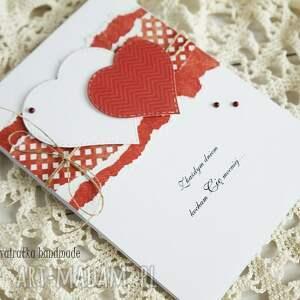 hand-made scrapbooking kartki walentynka z sercami