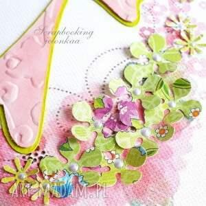 ręcznie wykonane scrapbooking kartki kwiaty wielkanoc - kartka