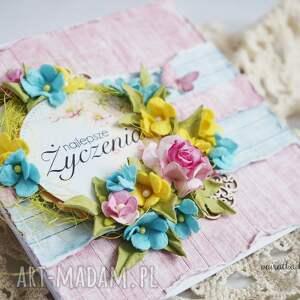 turkusowe scrapbooking kartki kartka wiosenne życzenia (z