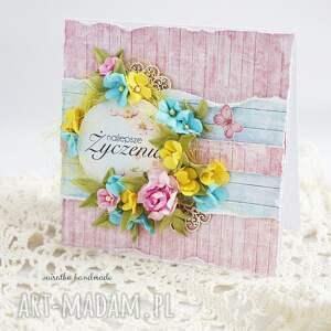 eleganckie scrapbooking kartki romantycznie wiosenne życzenia (kartka