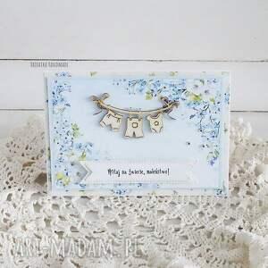 turkusowe scrapbooking kartki narodziny witaj na świecie maleństwo